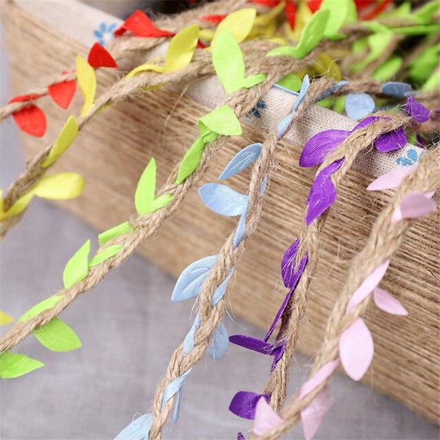 1 ярдов моделирование зеленые листья ткачество пеньковая веревка ротанга подарок Пасхальная корзина Декор соломенная веревка 5 мм Пасхальный кролик гнездо DIY материал