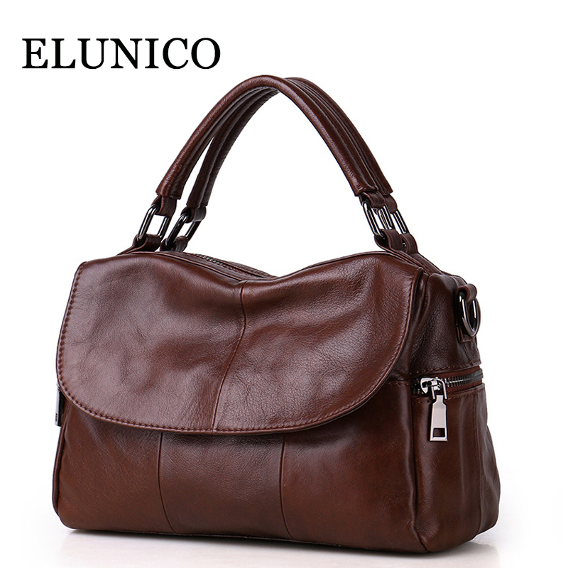 ELUNICO 2018 Tote Luxury Handbags Women Bags Designer Cowhide Leather Shoulder Bag Ladies Fashion Genuine Leather Messenger Bag fashion leather handbags luxury head layer cowhide leather handbags women shoulder messenger bags bucket bag lady new style