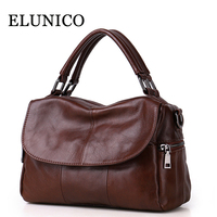 ELUNICO 2018 Tote Luxury Handbags Women Bags Designer Cowhide Leather Shoulder Bag Ladies Fashion Genuine Leather