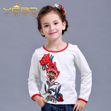 Spring Girls primer shirt kids National wind bottoming shirt child Embroidery long sellve T-shirt