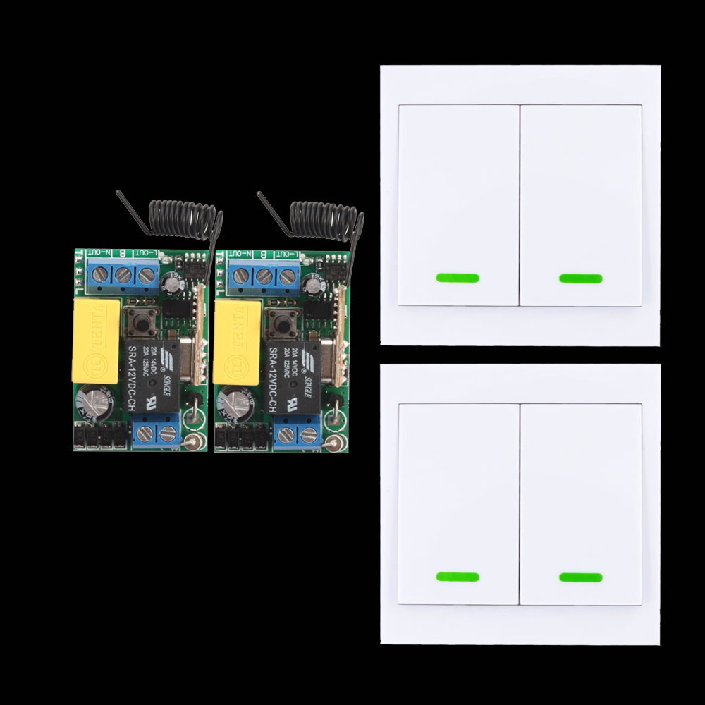 315/433 mhz 220 v Plafonnier Lumière Ampoule LED Sans Fil Télécommande Interrupteur Mural Panneau Émetteur Sortie D'entrée 10A Récepteur RF