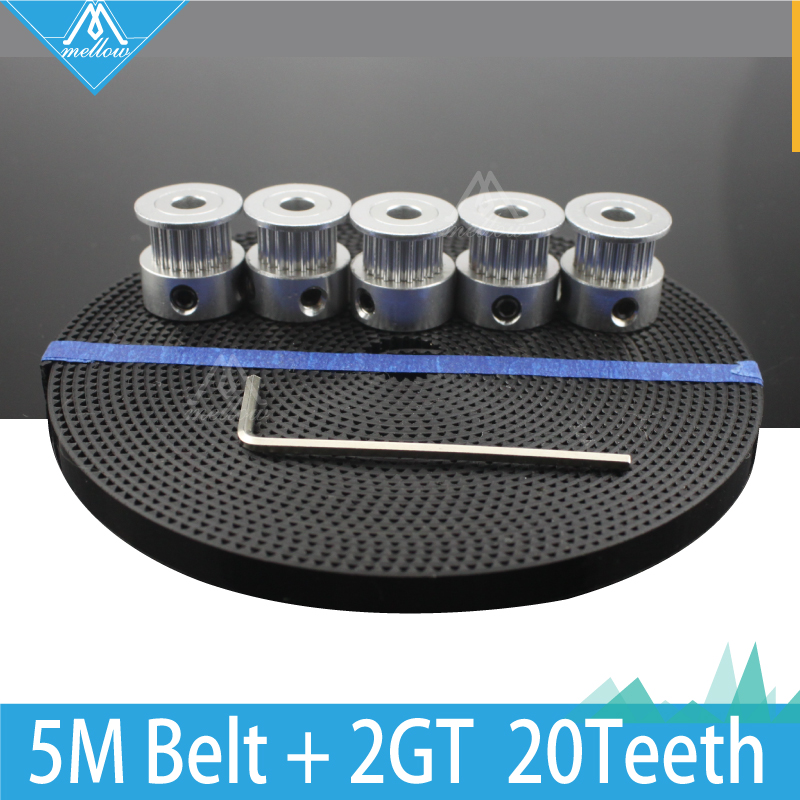 Free Shipping 3D Printer Accessories 5pcs 20 teeth GT2 Timing Pulley Synchronous Wheel Bore 5mm and 5M GT2-6mm GT2 Timing Belt wholesale 3d printer synchronous gt2 belt for reprap ultimaker other printer 1m length free shipping