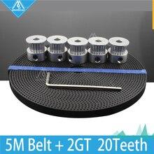 Бесплатная Доставка DIY 3D Принтер Аксессуары 5 шт. 20 зубов GT2 Сроки Шкив GT2 Синхронный Колеса и 5 М Gt2-6мм Ремень грм, Аллен