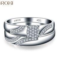 GS Brand Fashion Womens 925 Sterling Silver Wedding Ring Sets Women Vintage Classic Luxury Crystal Zirconia