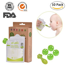 10pcs/lot Portable Outdoor Baby Feeding Supplies Double Zippers Reusable Refillable Complementary Food Grade for Baby