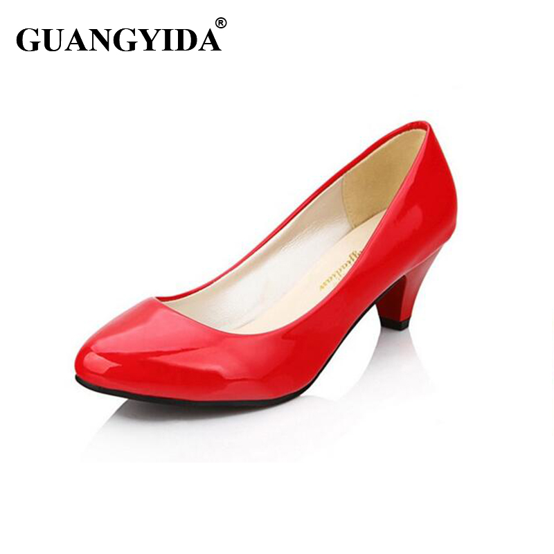 OL Office Fashion Ladies Platform 2016 New Arrival Pointed Toe Leather Med Heels Shoes Women Spring Pumps Womens ZY159 new spring autumn women shoes pointed toe high quality brand fashion ol dress womens flats ladies shoes black blue pink gray