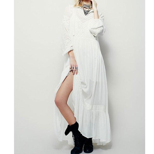 2020 été Vintage fête longue robe femmes Boho broderie bohème Maxi ethnique robes féminines Chic Hippie robes lâches
