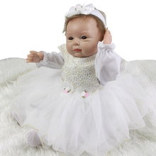 New Arrival 22 Inch Realistic Baby Girl Silicone Newborn Doll Toy With Full Soft Vinyl Arms Princess Babies Kids Birthday Gift