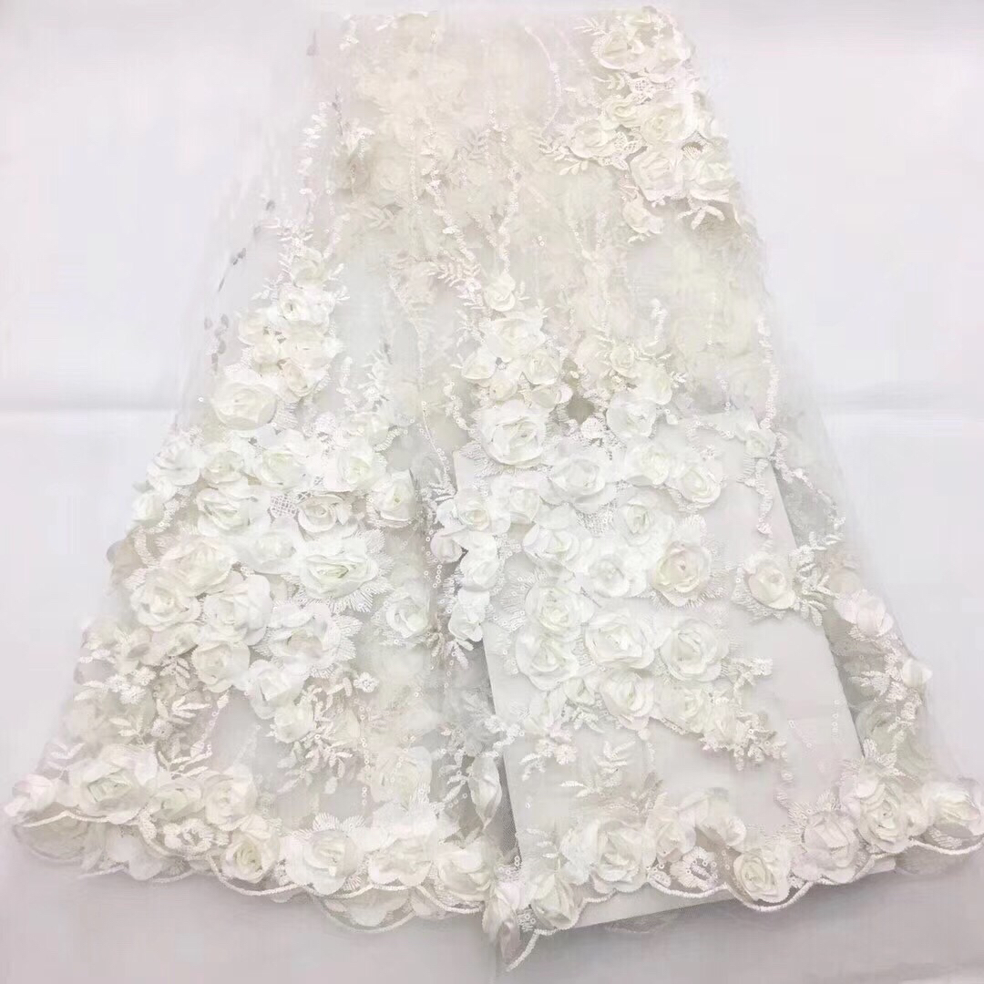 Nigerian Lace Fabric 2018 High Quality Lace 3d Lace Fabric Wedding White African With Sequins Nigerian
