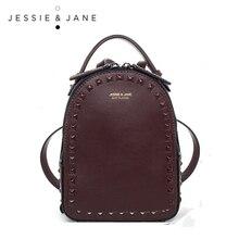 JESSIE & JANE Women's Fashion Rivet Design Split Leather Backpack Women Casual Daypacks 1825