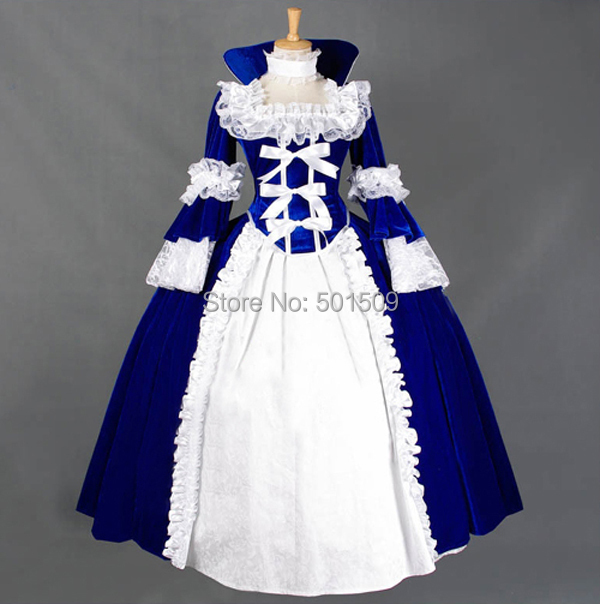 fan collar royal blue victoria gown medieval dress Renaissance gown queen costume Victorian Gothic/Marie Antoinette/ Belle Ball