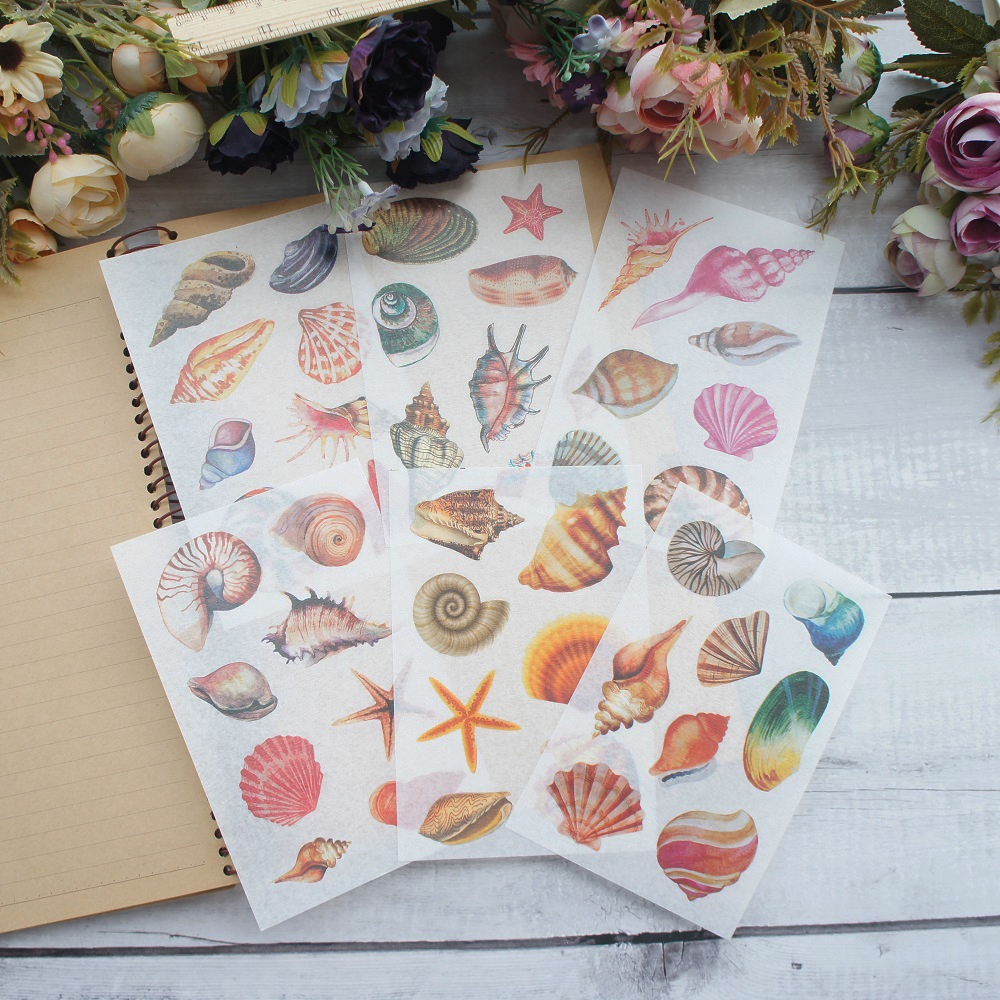 6 Sheets Sea Conch Shell Style Paper Sticker Scrapbooking DIY Gift Packing Label Decoration Tag Party Decoration