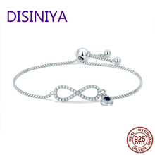 2019 100% 925 Sterling Silver Sparkling Infinity Women Chain Link Bracelet Wedding Adjustable Silver Jewelry Gift CQB087 eleshe 925 sterling silver infinity bracelet pulseras jewelry with austrian crystal adjustable chain charm bracelet wedding gift