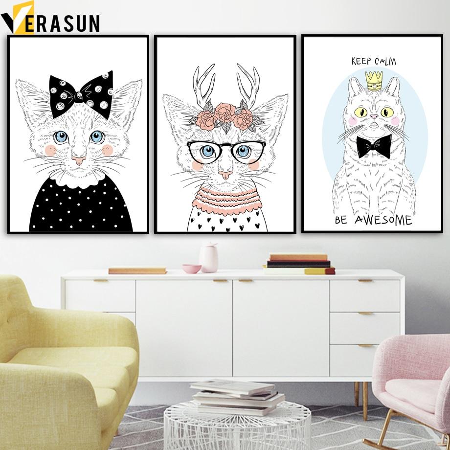 VERASUN Cat Poster Noordse Posters en Prints Muurschildering - Huisdecoratie