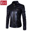 2016 nueva primavera otoño marca hombres chaqueta de cuero delgada del ajuste rompevientos jaqueta couro bombardero chaqueta de moto de cuero de imitación gamuza x359