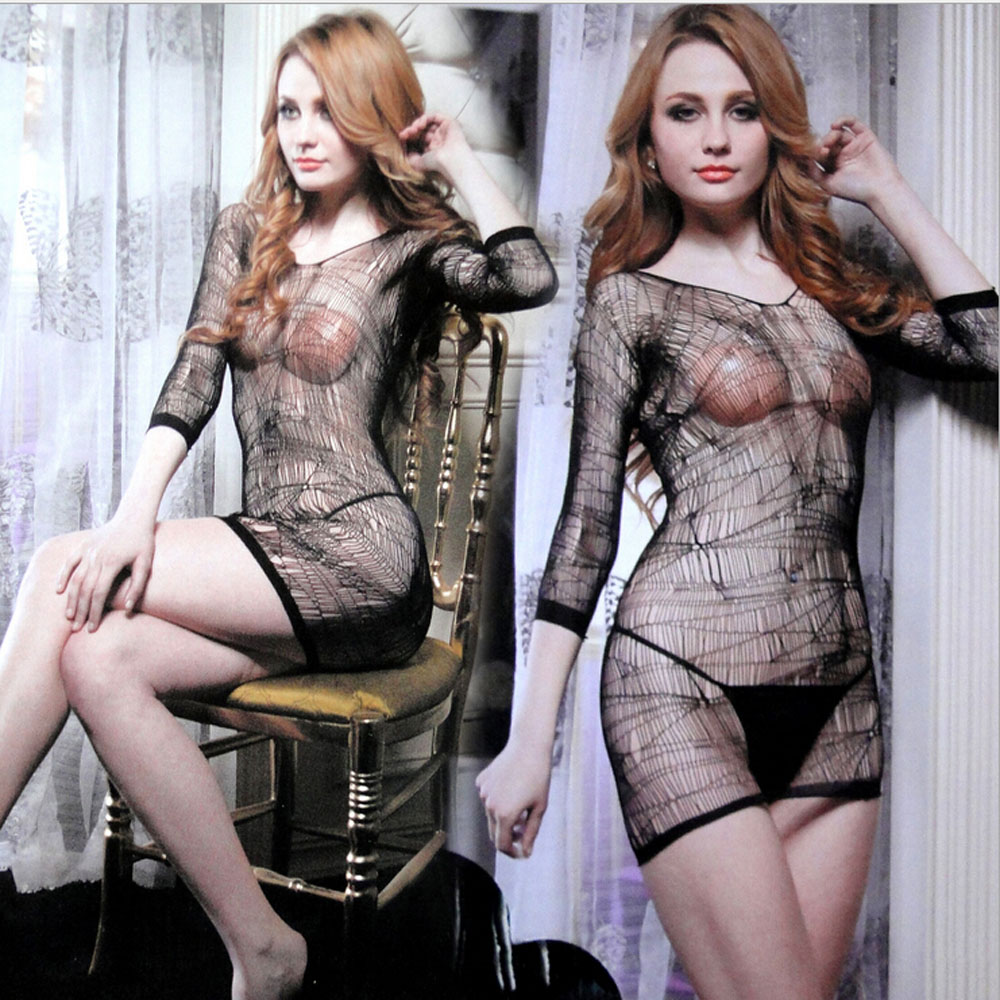 Fashion Sexy Lingerie Lace Black Temptation Perspective Sexy Sling Jacquard Long Sleeve Skirt Costume Netting Women