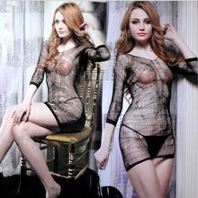 Fashion Sexy Lingerie Lace Black Temptation Perspective Sexy Sling Jacquard Long Sleeve Skirt Costume Netting Women Sex Products