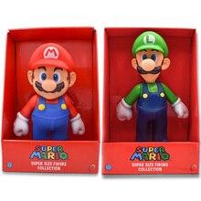 "2 стиля,, Марио, Луиджи, ПВХ фигурка, коллекция игрушек, кукла "" 23 см, новинка, в коробке, клизма"