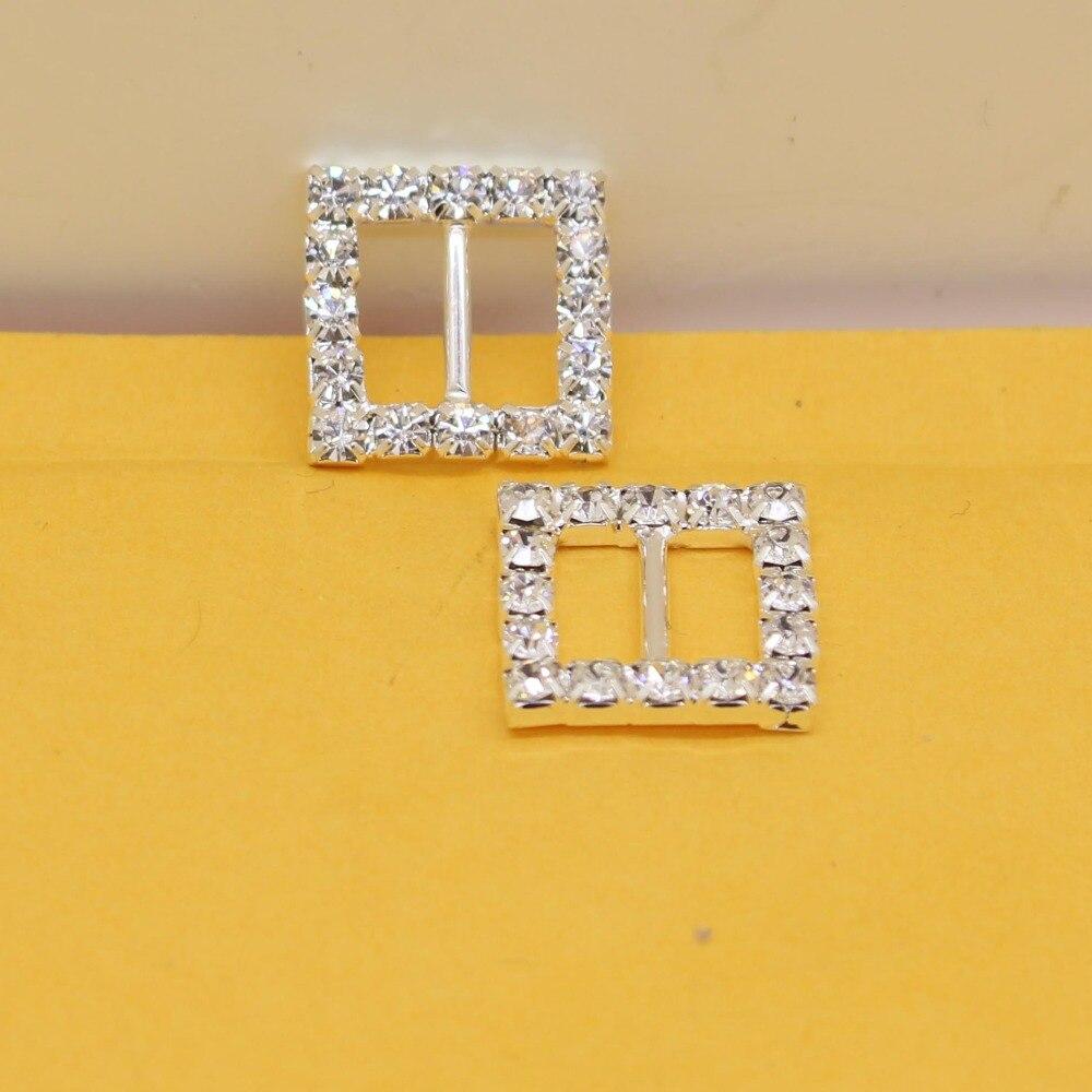 16 Silver Square Rhinestone Buckle Ribbon Slider for Wedding Invitation 15mm