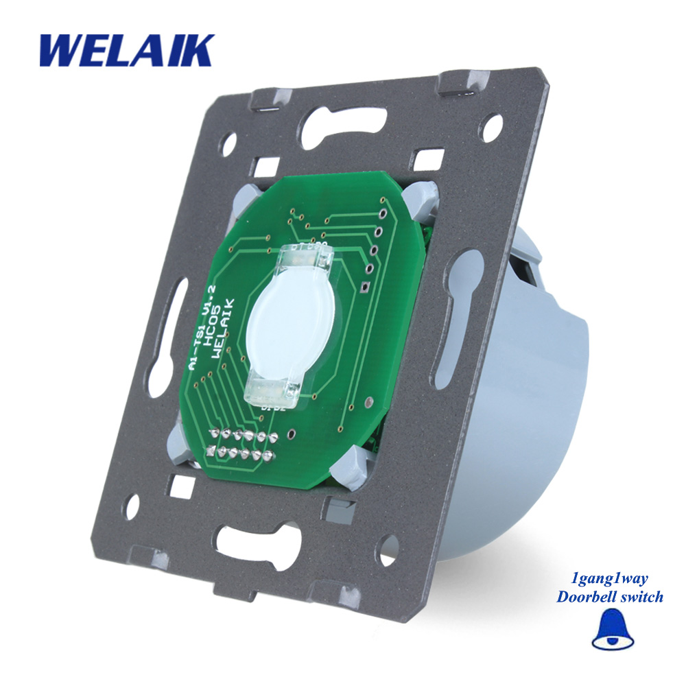WELAIK  Glass Panel Switch White Wall Switch EU Door Bell Touch Switch DIY Parts Light Switch 1gang1way AC110~250V A911ML thyssen parts leveling sensor yg 39g1k door zone switch leveling photoelectric sensors