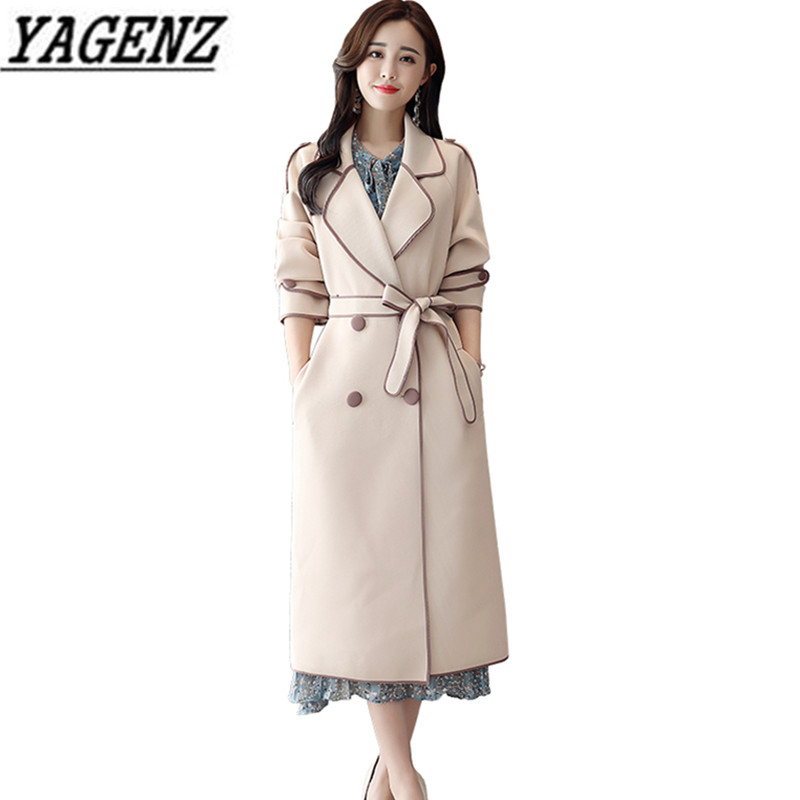 2018 Autumn Winter New Long Windbreaker Coat Women Brand Clothing Fashion Slim Double-breasted Overcoat Casual Lady   Trench   coat
