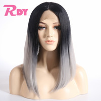 Rongduoyi Ombre Grey Short Silk Straight Synthetic Lace Front Wig For Black/White Women Two Tone Color Heat Resistant Bob Wigs