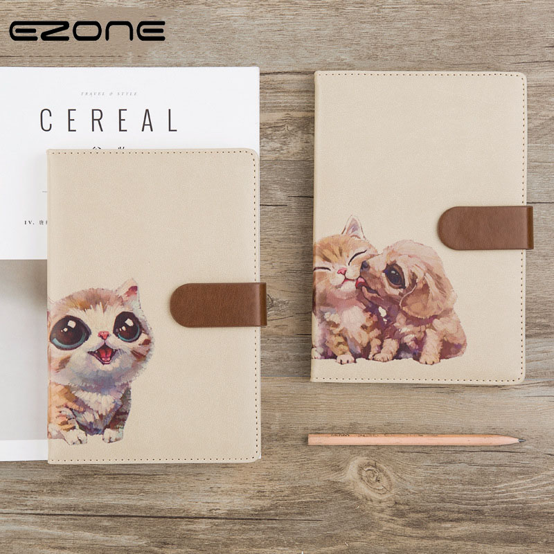 EZONE Cute Animals Notebook Kawaii Printed Cat/ Dog/Panda/Rabbit Note Book With PU Cover Traveler Journal Notepad Stationery sosw fashion anime theme death note cosplay notebook new school large writing journal 20 5cm 14 5cm