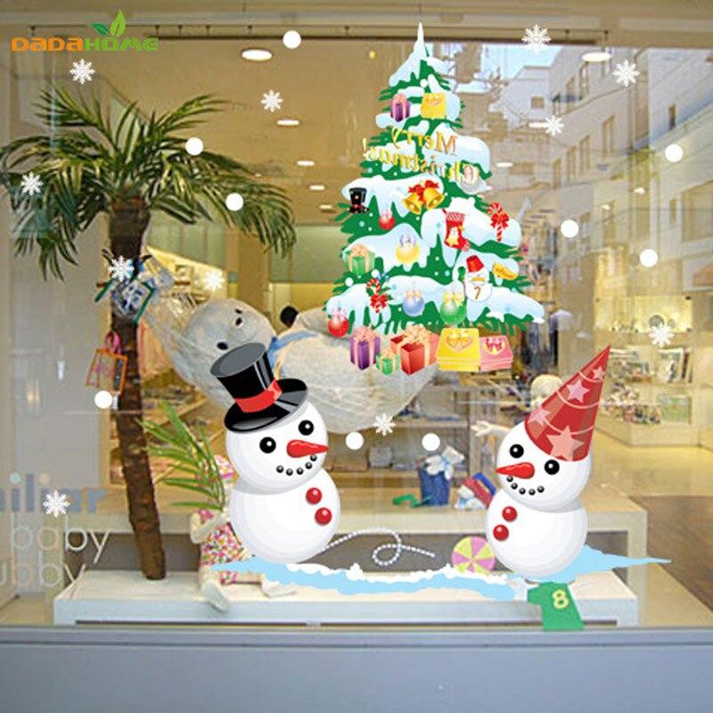 la nueva tienda de ventana etiqueta de la pared de navidad mueco de nieve del rbol