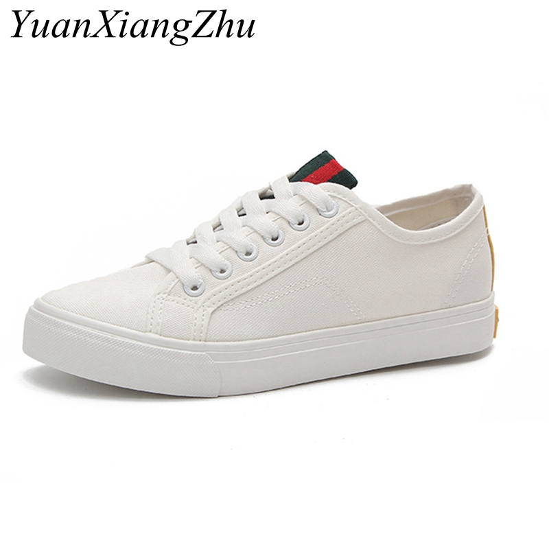 все цены на Women shoes 2018 new arrivals fashion white canvas shoes female spring/summer black casual shoes woman students women sneakers