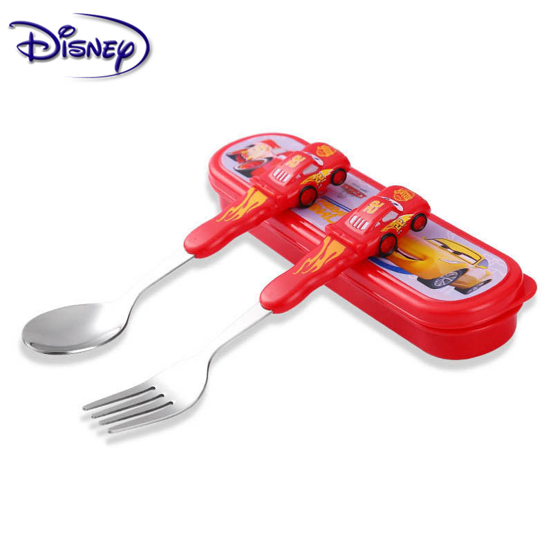 Disney Children's Tableware Stainless Steel Baby Spoon Fork Set Portable Learning Spoon Baby Training Spoon