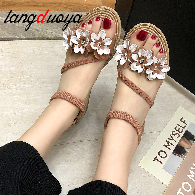 2019 Sandals Women beach Flat Sandals Flowers Gladiator Sandal Shoes Summer Zapatos Mujer women summer sandals2019 Sandals Women beach Flat Sandals Flowers Gladiator Sandal Shoes Summer Zapatos Mujer women summer sandals