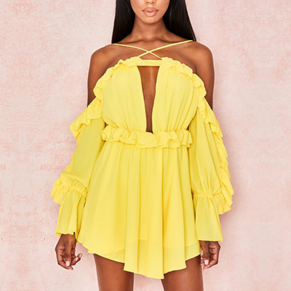 Seamyla New Bodycon Dress Sexy Long Sleeve Ruffes Summer Dress 2019 Women Clothing Elegant Mini Celebrity