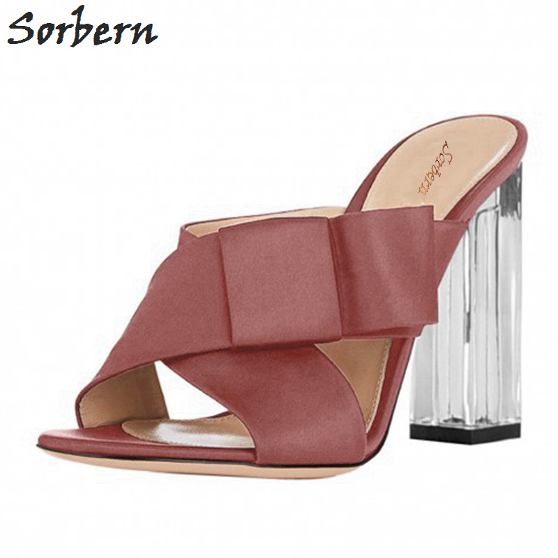Sorbern Sexy Bowknot Satin Women Slippers Transparent Heeled Open Toe Summer Shoes Ladies Women Shoes Slippers High Heel 2018 deha