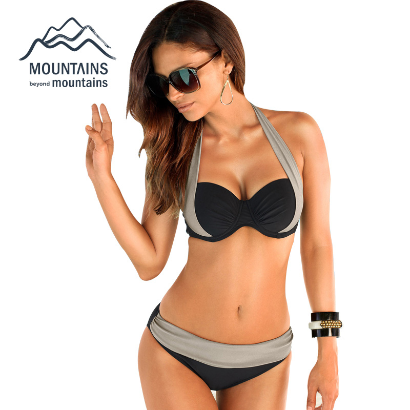2017 New Sexy Bikinis Women Swimsuit High Waisted Bathing Suits Swim Halter Push Up Bikini Set Plus Size Swimwear XXXL lx pack lowest factory price 2 200g dosing packing intelligent machine powder bean tea peanut flour automatic packaging machine