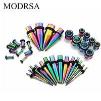 MODRSA 36piece Ear Expander 316l Stainless Steel Multicolor Piercing Taper Plugs Tunnel Kit Stretcher Gauges Body Jewelry 2017