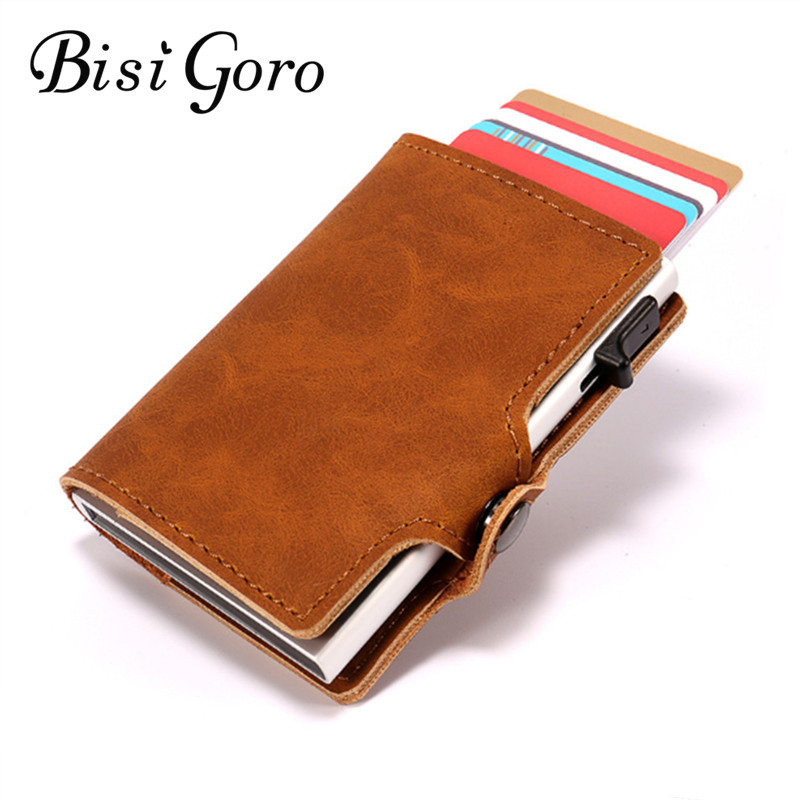 все цены на BISI GORO 2018 New Style Unisex Aluminum ID Credit Card Holder With RFID Vintage Anti Protect Blocking Wallet Travel Metal Case онлайн