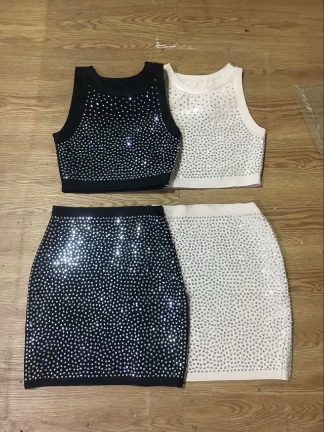 2018 Neue Ankünfte Sommer Frauen Kleid Großhandel Schwarz Beige Perlen 2 Stück Kleid Party Kleid Dropshipping Kleid + Anzug SchöNer Auftritt