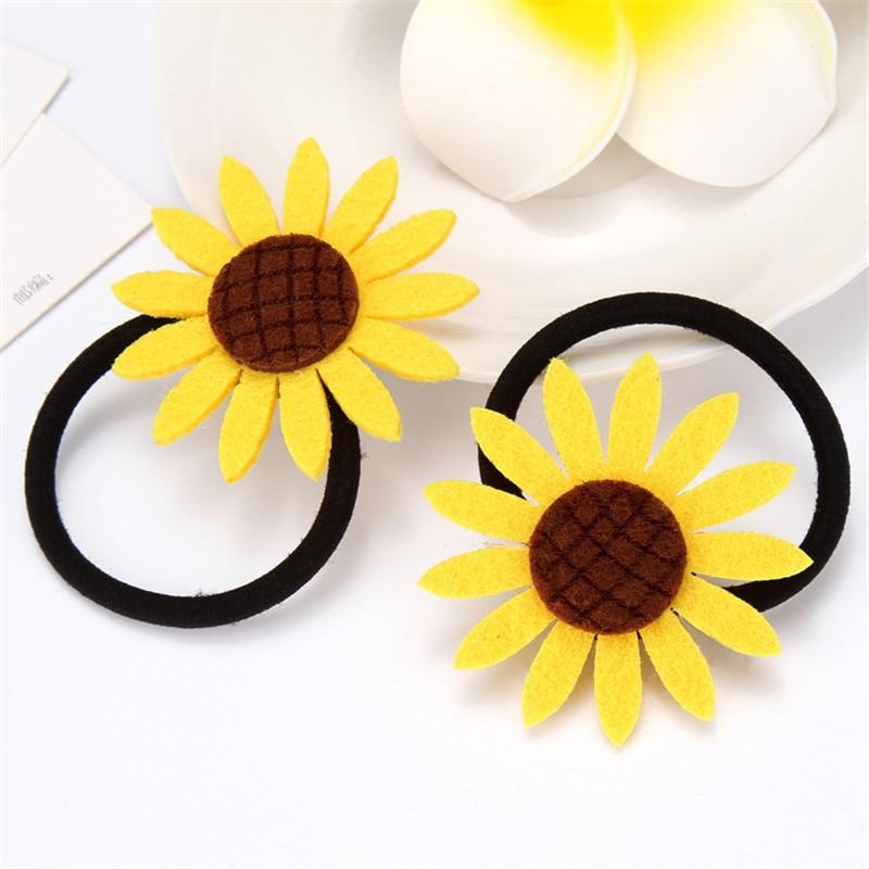 1PCS Lovely Sunflower Elastic Hair Bands Toys For Girls Handmade Bow Headband Scrunchy Kids Hair Accessories For Women 2018