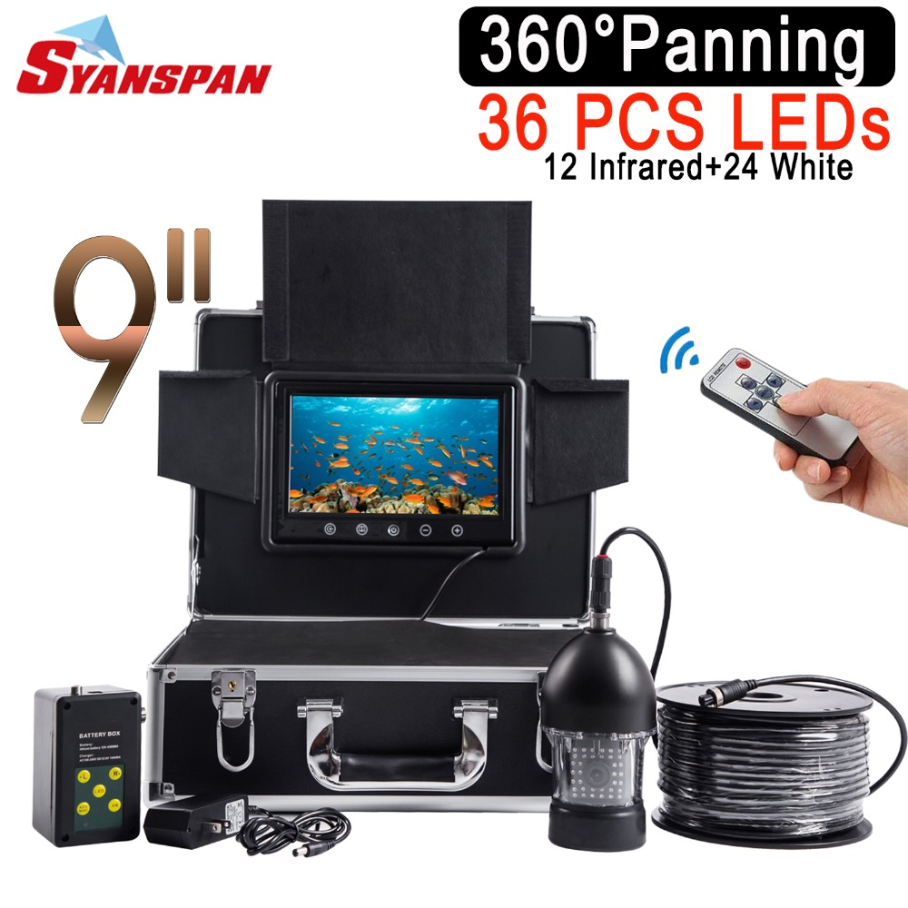 SYANSPAN Rotate by 360 Degree Waterproof 50M Fish Finder 9LCD Monitor Fishfinder Video Camera HD Underwater Ice Fishing 36 LEDs gamwater 7 tft monitor 50m cable 360 degree rotate underwater camera underwater fishing camera color fish monitor fish finder