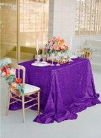 Violet (72*72 pouce) en gros De Mariage Belle Pourpre Sequin Table Tissu/Superposition/Couverture Pour 6FT Décoration De Table