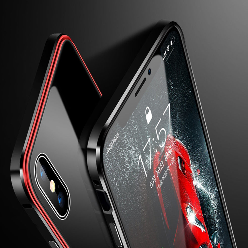 NEW Metal Bumper Case for iPhone XS Max XR Cover Aluminium Frame Tempered Glass Phone Case For iPhone X 7 8 Plus Coque iPhone XS