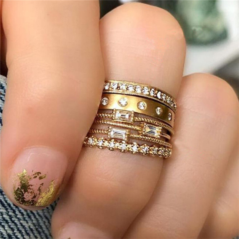 TTLIFE 6 Pcs/set Geometric Crystal Zircon Gold Ring Set 2019 Vintage Bohemian Women Engagement Party Jewelry