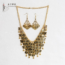 Indian Accessories Dancewear Alloy Belly Dance Necklace and Earrings Dance Accessory Set for Indian Dance