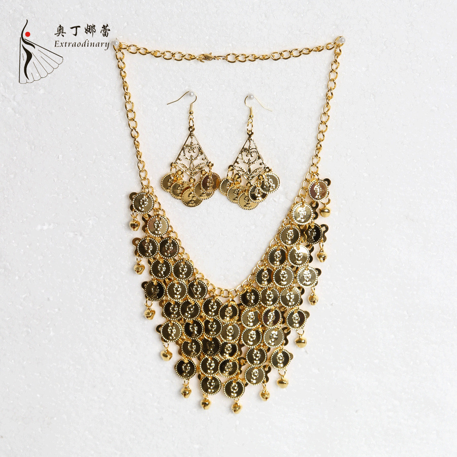 Indian font b Accessories b font Dancewear Alloy Belly Dance Necklace and Earrings Dance font b