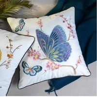 Butterfly embroidered cotton fabric cushion cover pastrol style square pillowcase decorative pillow cover household