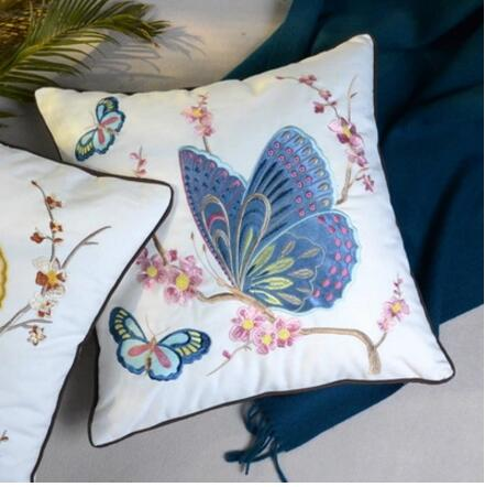 Dielianhua Smart Natural American Butterfly Embroidered Combed Cotton Sail Patch Velvet Embroidery 45X45 Embroidered Pillow Cove