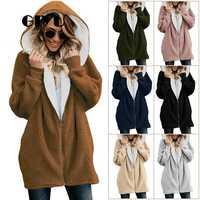 GIYU 5XL chaquetas con capucha de manga larga de invierno de gran tamaño con cremallera para mujer Teddy Faux Fur Coat Casual Solid abrigos mujer invierno