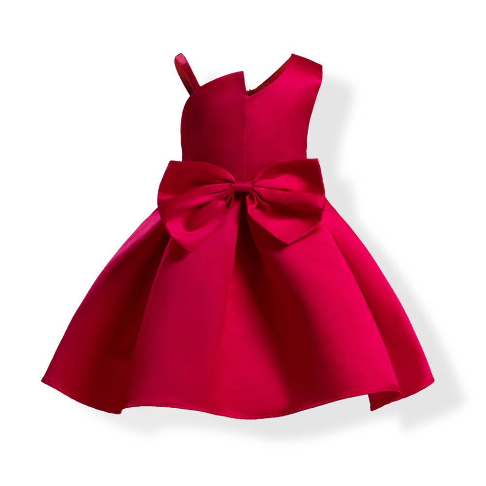 Summer New Hot Princess Dress For Baby Girls Birthday Wedding Party Clothing Sleevelees Big Bow A-Line Red Dress 3-9Years