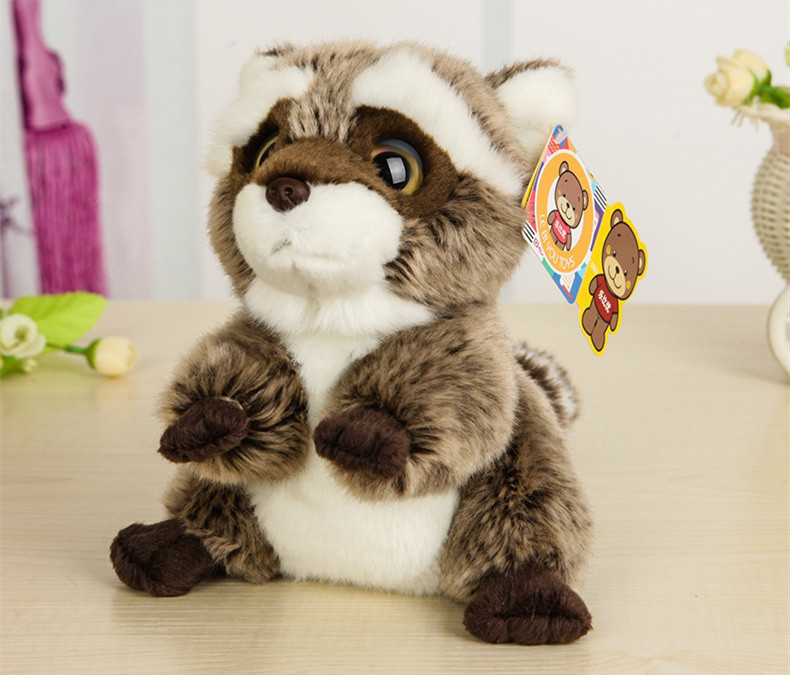 Free Shipping 18CM Lovely Small Racoon Plush Toys Dolls Stuffed Animal Toys For Children Kids Toys Christmas & Birthday Gifts цена и фото