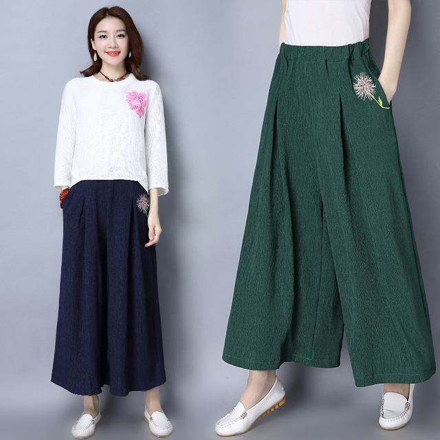 2017 New Arrive Spring And Summer Fashion And Casual High Quality All-match Embroidered Wide Leg Pants